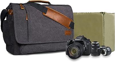 Estarer Kameratasche Fototasche SLR/DSLR/Spiegelreflex Kamera Umhängetasche aus Wasserabweisend Canvas 15,6 Zoll/14 Zoll Grau 14 Zoll