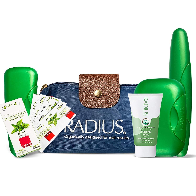RADIUS Deluxe Toiletry Case Gift Set (Organic Matcha Mint Toothpaste, 0.8oz, Floss Travel Sachets, Soap Case, Razor Case, Toothpaste Case, Travel Bag), 1 count : Beauty
