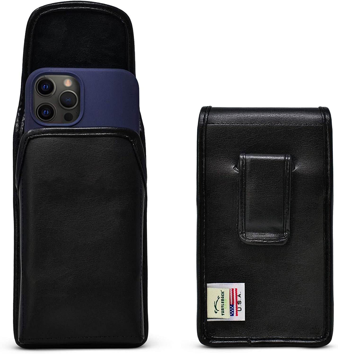 Turtleback Belt Clip Designed for iPhone 13 Pro, 13/12 & 12 Pro Vertical Holster Case Black Leather Pouch with Executive Clip, Made in USA