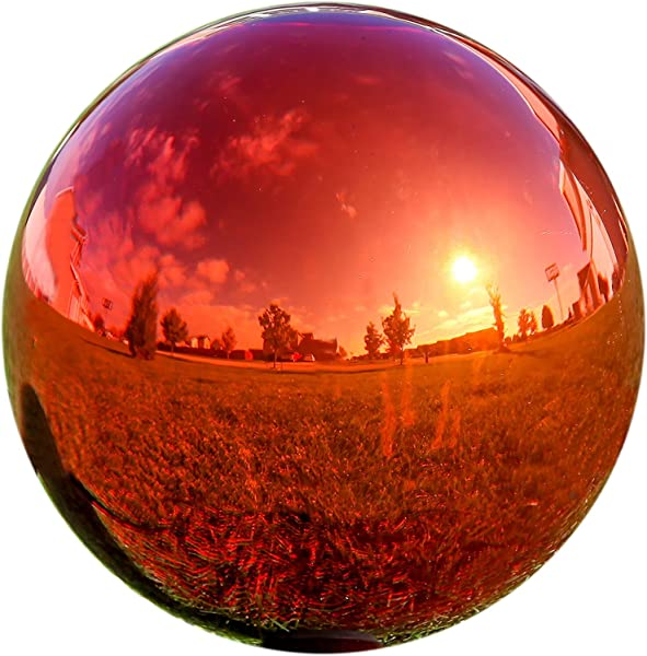 Lily S Home Glass Gazing Mirror Ball The Ultimate Colorful Addition To Any Garden Red 12 Inches Dia