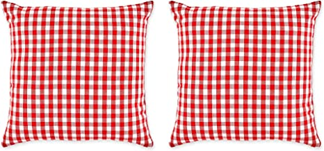DII Check Pillow Cover, 20x20, Gingham Red/White