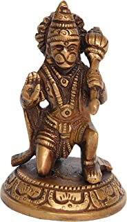 Aakrati Antique Finished Vintage Sitting Hanuman Idol with Trumpet Showpiece - Religious Hindu Lord Statue for woship