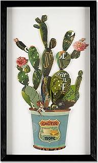 ADM - Cactus en maceta - Cuadro con efecto 3D realizado con técnica de collage, enmarcado y protegido por un cristal front...
