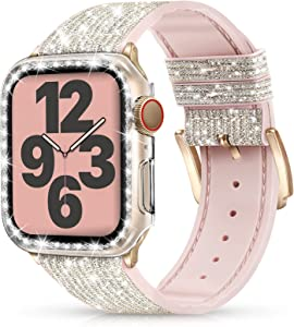 Marge Plus Compatible with Apple Watch Band 38mm 40mm 42mm 44mm with Case, Glitter Strap for Women, Sweatproof Genuine Leather and Silicone Band for iWatch Series 6/5/4/3/2/1 SE(44mm, Glitter Silver/Rose Gold)