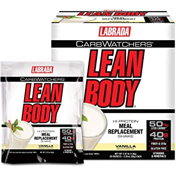 Lean Body Carb Watchers, All-In-One Vanilla Meal Replacement Shake. 40g Protein Whey Blend, 8g Healthy Fats & Fiber, 22 Vitamins and Minerals , No Artificial Colors, Gluten Free,(20 MRP/MRS Packets)