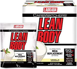 Lean Body Carb Watchers, All-In-One Vanilla Meal Replacement Shake. 40g Protein Whey Blend, 8g Healthy Fats & Fiber, 22 Vi...