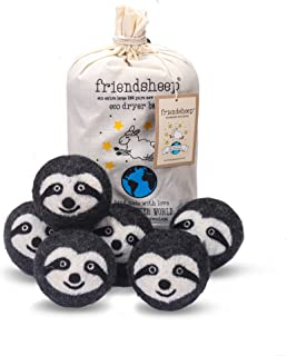Friendsheep Wool Dryer Balls 6 Pack XL Organic Premium Reusable Cruelty Free Handmade Fair Trade No Lint Fabric Softener Gray Sloth - Sloth Squad