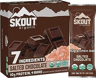 Skout Organic Salted Chocolate Organic Protein Bars (4 Pack) | 10g Plant-Based Protein per Bar | Paleo Snacks & Vegan Prot...