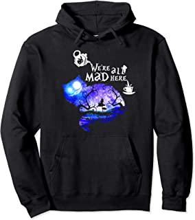 Cheshire Alice Cat We're All Mad Here Wonderland Pullover Hoodie