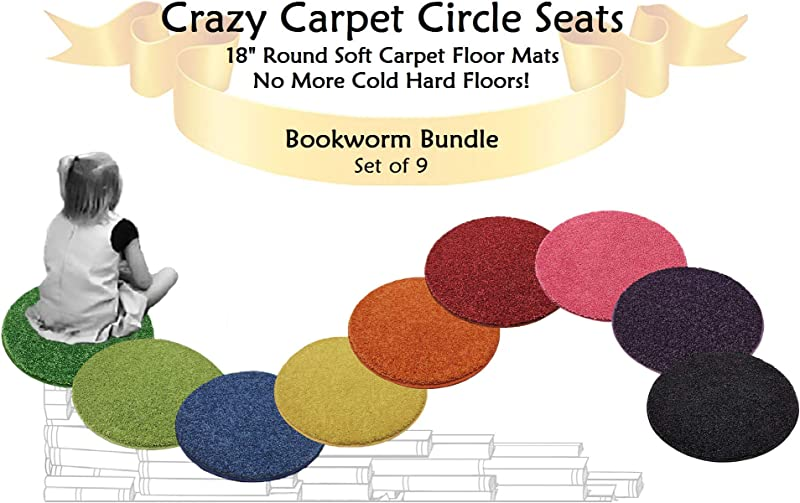 Set 9 Bookworm Bundle Kids Crazy Carpet Circle Seats 18 Round Soft Warm Floor Mat Cushions Classroom Story Time Group Activity Time Out Spot Marker Fun Home Bedroom Play Areas