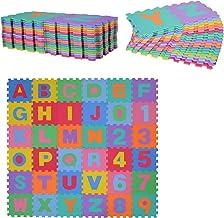 HOMCOM Alfombra Puzzle para Niños 31x31cm 36 Piezas Numeros 0 al 9 y 26 Letras Alfabeto Goma Espuma Alfombrilla de Juego para Bebe Infantil Área de Cobertura 3.13㎡