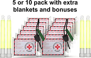 5 Pack Multi-Pack Emergency Blankets (Extra Large 63 x 82.5 inches) with Bonus Blanket/s, Fire Striker, Glow Sticks: Earthquake kit, Bug Out Bag, Camping. Emergency Blanket, NASA, Mylar Blanket