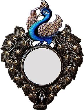 Divraya Wood Peacock Wall Mirror (45.72 cm x 4 cm x 60.96 cm, DA108)