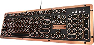 Azio MK-RETRO-L-03-US Retro Classic Artisan - USB Luxury Vintage Back lit Mechanical Keyboard (Blue Switch, Black Leather, Zinc Alloy Frame) - Black/Copper