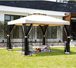 Grand patio 10x10 Feet Outdoor Gazebo Patio Economical Pergolas for Shade Outdoor Tents with Netting for Backyard, Garden,...