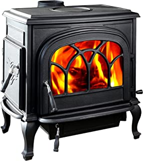 HiFlame large cast iron wood burning stove HF737U STALLION Paint Black