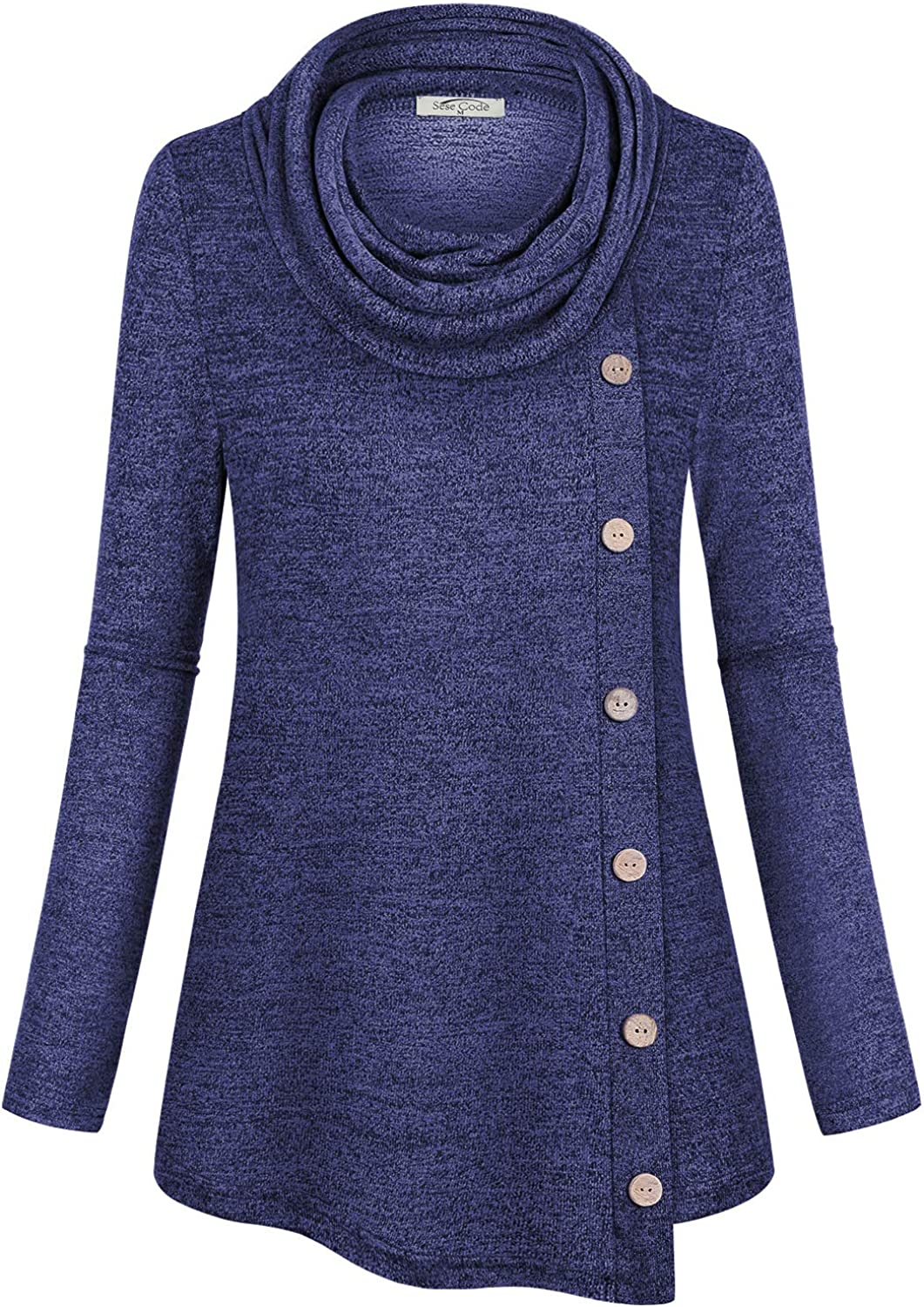 SeSe Code Womens Cowl Neck Long Sleeve Pullover Sweatshirts Button Side Tunic
