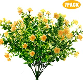 Woaiwo-q Artificial Flowers Artificial Plants Fake Flowers Fake Plants UV Resistant Plastic Plants for Outdoor Indooror,Garden,Weeding Decoration, Yellow(7 Pack)