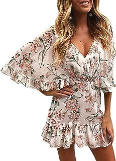 ECOWISH Damen Kleider V-Ausschnitt Sommerkleid Blumen Mini Strandkleid Boho Rüschen Fledermausärmel Freizeitkleider