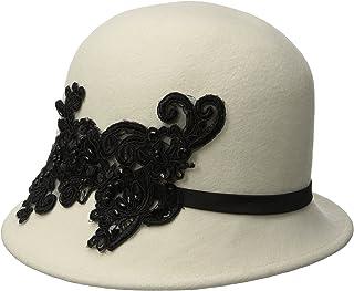 San Diego Hat Company Women's Wool Felt Cloche Hat with Sequin Lace Aplique Trim