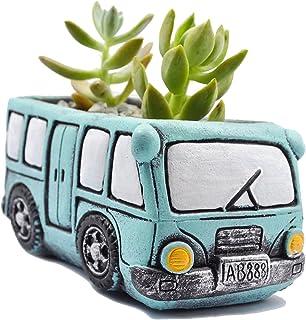 Ogrmar Retro Creative Car Flower Pot Garden Plant Succulent Planter Desk Flower Pot Cactus Plant Pot (WY1577, Aquamarine)