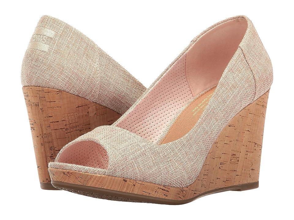 TOMS Stella Wedge (Pale Pink Lurex Woven) Women