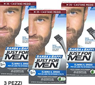 Just For Men - Barba y bigote color tinte permanente con pincel sin amoniaco castaño medio M-35 2 x 14 ml gel coloran...
