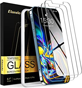 Elando Glass Screen Protector Compatible with iPhone 12/12 Pro 6.1 Inch, Case Friendly Tempered Glass Film 9H Hardness with Easy Installation Kit, 3-Pack