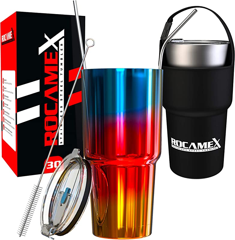Rocamex 30 Oz Tumbler Stainless Steel Travel Mug Double Wall Vacuum Insulated Coffee Cup With Straw Lid And Gift Box Works For Hot Beverages And Ice Cold Drinks Blue Red