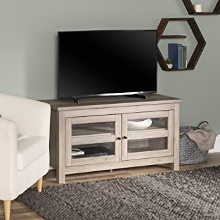 """WE Furniture Simple Wood Universal Stand for TV`s up to 50"""" Flat Screen Living Room Storage Entertainment Center, Grey Wash"""