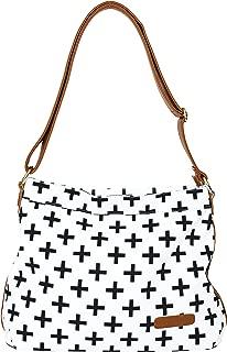 Crosses Hobo Crossbody Bag by White Elm | Canvas & Vegan Leather | White or Blue