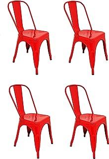 La Silla Española - Pack 4 Sillas estilo Tolix con respaldo. Color Rojo. Medidas 85x54x45,5