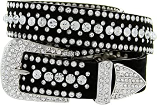 Ladies Western Rhinestone Bling Cowgirl Leather Belt