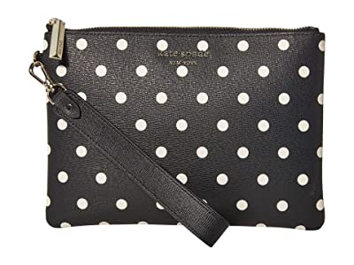 Kate Spade New York Spencer Cabana Dot Small Pouch Wristlet (Black/Multi) Handbags