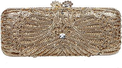 Fawziya Crystal Flower Snap Baguette Style Wedding Party Clutch Bag