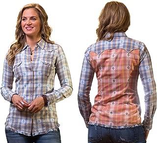 Ryan Michael Dobby Indigo Plaid Nickel Thunderbird Snaps Western Style Shirt