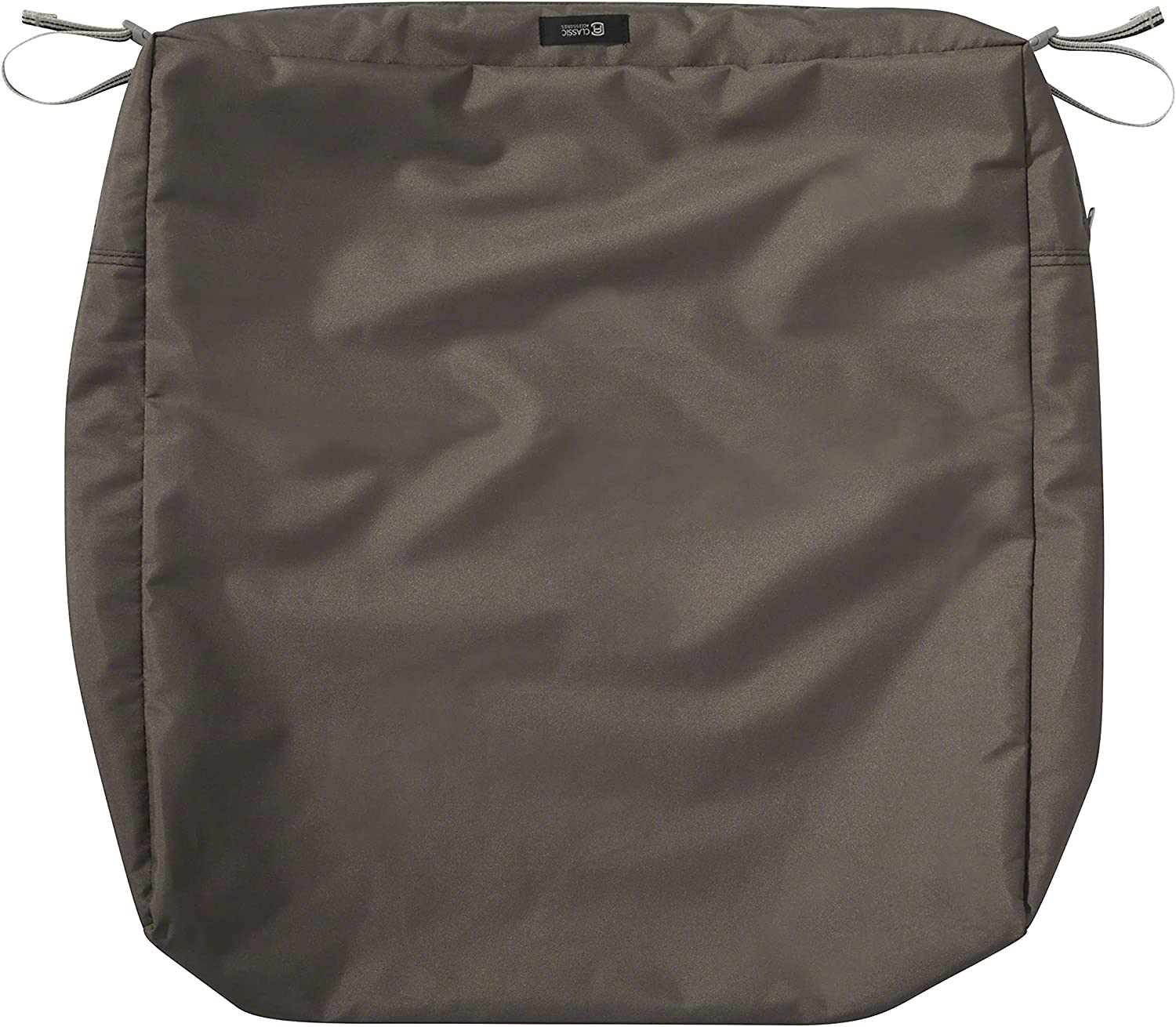 Classic Accessories Ravenna Water-Resistant 25 x 25 x 5 Inch Square Outdoor Seat Cushion Slip Cover, Patio Furniture Chair Cushion Cover, Dark Taupe