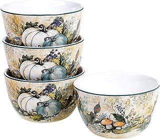 "Certified International ""Harvest Gatherings 5.25"""" Ice Cream/Dessert Bowls, Set of 4"", multicolor"