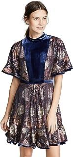 فستان مخملي بمشبك وأكمام قصيرة للنساء من Rebecca Taylor