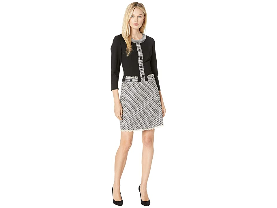 Anne Klein A-Line Eyelet Tweed Fit Flare Dress (Bolshoi Grey/Degas Grey Combo) Women