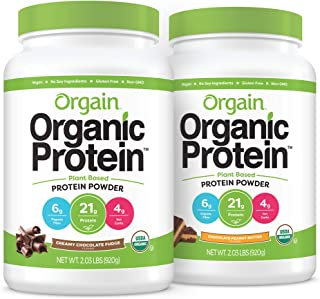 Orgain Bundle - Chocolate and Chocolate Peanut Butter Protein Powder - (20 Servings each) Vegan, Low Net Carbs, Made witho...