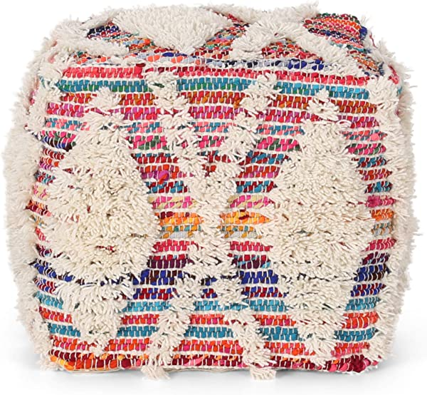 Great Deal Furniture Hebe Boho Wool And Chindi Pouf Multicolor