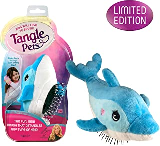 Tangle Pets FIN THE DOLPHIN - The Detangling Brush in a Plush, Great for Any Hair Type, Removable Plush, As Seen on Shark Tank
