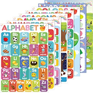 Educational Preschool Poster Kid Learning Posters Kindergarten Classroom Teaching Poster for Toddler with Glue Point Dot for Nursery Homeschool Playroom Learning Decor 16 x 11 Inch, 8 Pieces