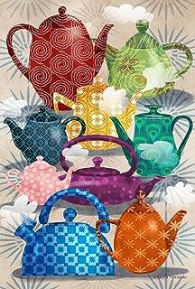 Toland Home Garden Ornate Teapots 12.5 x 18 Inch Decorative Colorful Artistic Pattern Steaming Tea Pot Garden Flag