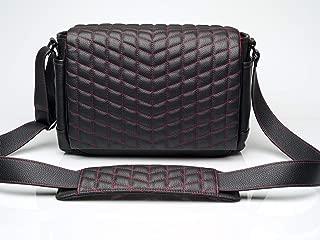 Vi Vante The Exotic RS Red Stitched Plush Red Interior Designer Medium Leather Camera Bag Black