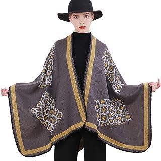 RIIQIICHY Cardigan Caldo Invernale da Donna Poncho Cape Coperta Maglione Oversize Cappotto Cardigan Scialle Avvolgere Pashmina