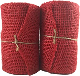 Red Burlap Craft Ribbon Roll (5.5 in Wide x 15 Ft Long) - Pack of 2