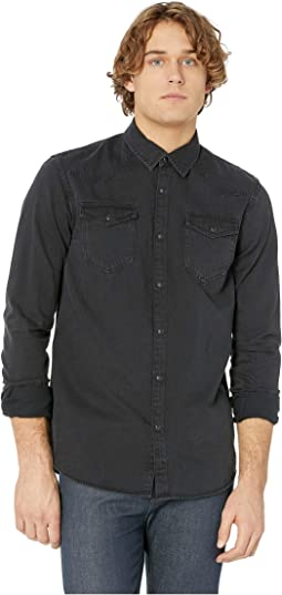 Slim Fit Ams Blauw Easy Western Shirt in Simple Authentic Wash
