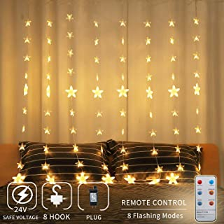 144 LED Curtain String Lights, 80 Stars Window String Light waterproof with 8 Flashing Modes RF Remote Timer Decoration for Home, Restaurant, Wedding, Party, Birthday, Christmas, Indoor and Outdoor